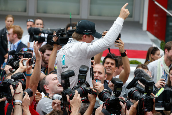 Monte Carlo, Monaco. Sunday 25 May 2014. Nico Rosberg, Mercedes AMG, 1st Position, celebrates victory. World Copyright: Glenn Dunbar/LAT Photographic. ref: Digital Image _89P0545