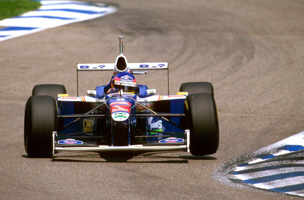 Hockenheim, Germany.25-27 July 1997.Jacques Villeneuve (Williams FW19 Renault) failed to finish after tangling with Trulli and spinning off.Ref-97 GER 20.World Copyright - LAT Photographic