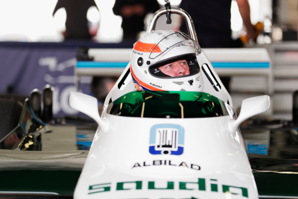 Williams 40 Event Silverstone, Northants, UK Friday 2 June 2017. Martin Brundle demonstrates a six-wheeled FW08. World Copyright: Zak Mauger/LAT Images ref: Digital Image _54I0329