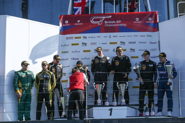 2017 British GT Championship, Silverstone, 11th-12th June 2017, GT4 Podium (l-r) Stuart Hall / Gavan Kershaw Stratton Motorsport Lotus Evora, Matt Nicoll-Jones / Will Moore - Academy Motorsport - Aston Martin Vantage GT4, Adam Balon / Adam Mackay - track-club - McLaren 570S GT4, Marcus Hoggarth / Matty Graham - In2Racing - McLaren 570S GT4. World copyright. JEP/LAT Images