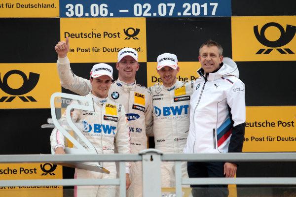 2017 DTM Round 4 Norisring, Nuremburg, Germany Sunday 2 July 2017. Podium: Race winner Maxime Martin, BMW Team RBM, BMW M4 DTM, second place Lucas Auer, Mercedes-AMG Team HWA, Mercedes-AMG C63 DTM, third Edoardo Mortara, Mercedes-AMG Team HWA, Mercedes-AMG C63 DTM, Bart Mampaey, Team principal BMW Team RBM World Copyright: Alexander Trienitz/LAT Images ref: Digital Image 2017-DTM-R3-NOR-AT1-3833