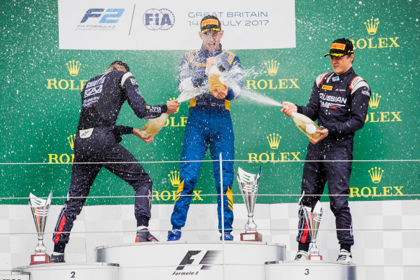 2017 FIA Formula 2 Round 6. Silverstone, Northamptonshire, UK. Sunday 16 July 2017. Luca Ghiotto (ITA, RUSSIAN TIME), Nicholas Latifi (CAN, DAMS), Artem Markelov (RUS, RUSSIAN TIME).  Photo: Zak Mauger/FIA Formula 2. ref: Digital Image _56I0788