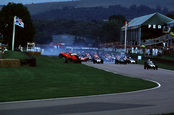 2000 Goodwood Motor Circuit Revival. Goodwood, England. 15th - 17th September 2000. Nigel Corner is catapulted out of his Ferrari Dino at the start of the race, action.  World Copyright: Jeff Bloxham / LAT Photographic. Ref:  FoS06.