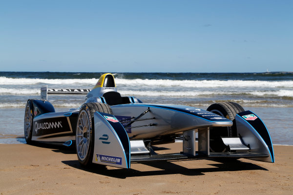 FIA Formula E Test Day. Formula E Car on the beach. Punta Del Este, Uruguay, South America. Formula E Third Race Event, 11th - 14th December 2014. Sunday 14 December 2014.  Photo: Adam Warner/LAT/FE ref: Digital Image _L5R5172