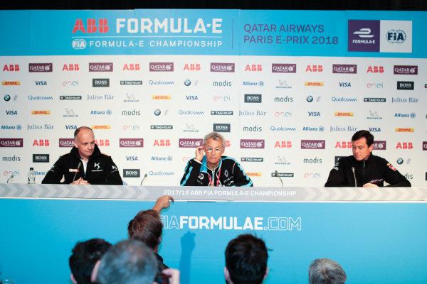 Xavier Mestelan Pinon, DS Performance Director, Jean-Paul Driot, Renault e.Dams and Frank Baldet, Venturi Formula E, in the Friday Press Conference.