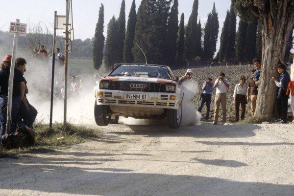 1981 World Rally Championship.San Remo Rally, Italy. 5-10 October 1981.Hannu Mikkola/Arne Hertz (Audi Quattro), 4th position.World Copyright: LAT PhotographicRef: 35mm transparency 81RALLY15