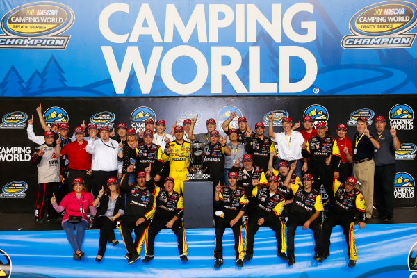 15 November, 2013, Homestead, Florida USA Matt Crafton on the championship stage with Toyota Racing personnel ©2013, Lesley Ann Miller LAT Photo USA