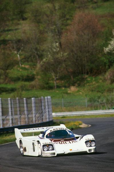 Mugello, Italy. 14th April 1985. Rd 1.Marc Surer/Manfred Winkelhock (Porsche 962C), 2nd position, action. World Copyright: LAT Photographic.Ref:  85MUG01