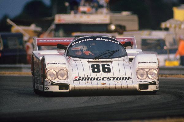 Daytona 24 hours, Florida, USA. 1st - 2nd February 1986. Rd 1. Bruce Leven / Bob Wollek / Derek Daly (Porsche 962), retired, action. World Copyright: Bill Murenbeeld/LAT Photographic. Ref:  86IMSA DAY01.
