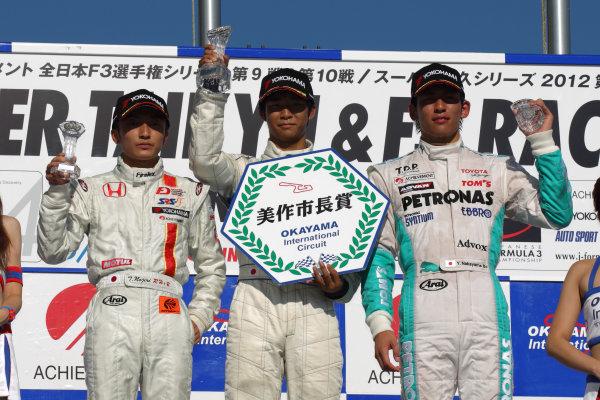 Round 9 & 10, Okayama, Japan. 25th August 2012.Rd 9 - Winner  Ryo Hirakawa ( #4 RSS ), 1st position.  2nd position, Tomoki Nojiri ( #8 HFDP RACING ). 3rd position, Yuichi Nakayama ( #36 PETRONAS TEAM TOM'S ), podium.World Copyright: Yasushi Ishihara/LAT Photographicref: Digital Image 2012JF3_Rd9&10_014