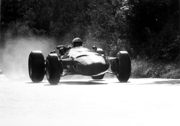 1966 German Grand Prix.Nurburgring, Germany. 7 August 1966.John Surtees, Cooper T81-Maserati, 2nd position, action, jump.World Copyright: LAT PhotographicRef: 1340 #11A/12
