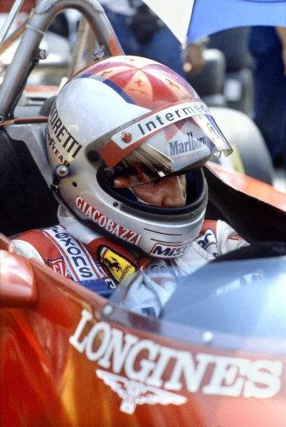 1982 Italian Grand Prix.Monza, Italy. 12 September 1982.Mario Andretti, Ferrari 126C2, 3rd position, portrait, helmet.World Copyright: LAT PhotographicRef: 35mm transparency 82ITA31