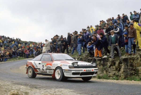 1991 World Rally Championship.Portuguese Rally, Portugal. 5-9 March 1991.Carlos Sainz/Luis Moya (Toyota Celica GT4), 1st position.World Copyright: LAT PhotographicRef: 35mm transparency 91RALLY03