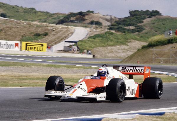 1986 Spanish Grand Prix. Jerez, Spain. 11-13 April 1986. Alain Prost (McLaren MP4/2C TAG Porsche) 3rd position. Ref-86 ESP 56. World Copyright - LAT Photographic