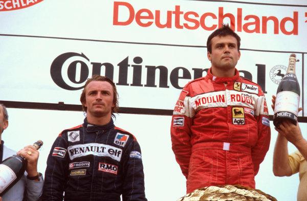 Hockenheim, Germany.6-8 August 1982.Patrick Tambay (Ferrari) 1st position and Rene Arnoux (Equipe Renault) 2nd position on the podium.Ref-82 GER 01.World Copyright - LAT Photographic