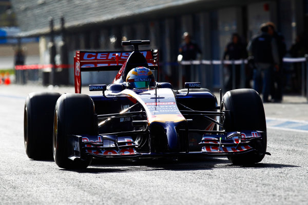 2014 F1 Pre Season Test 1 - Day 1 Circuito de Jerez, Jerez, Spain. Tuesday 28 January 2014. Jean-Eric Vergne, Toro Rosso STR9 Renault leaves the pits. World Copyright: Alastair Staley/LAT Photographic. ref: Digital Image _A8C7944.JPG