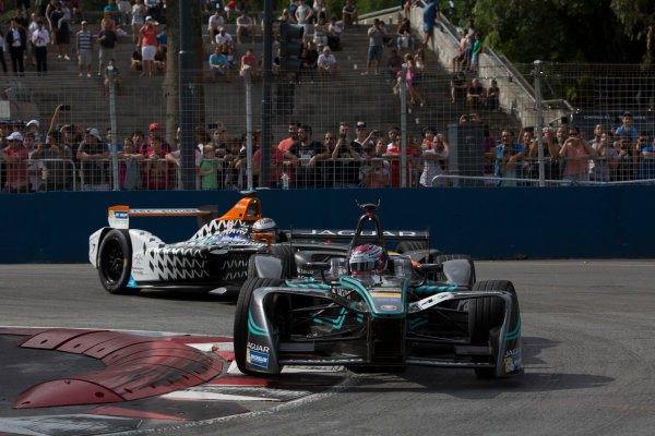 2016/2017 FIA Formula E Championship. Buenos Aires ePrix, Buenos Aires, Argentina. Saturday 18 February 2017 Adam Carroll (47, Panasonic Jaguar Racing) leads Jerome d' Ambrosio (7, Faraday Future Dragon Racing). Photo: Alastair Staley/LAT/Formula E ref: Digital Image 580A7304