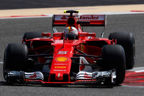 Bahrain International Circuit, Sakhir, Bahrain.  Tuesday 18 April 2017. Sebastian Vettel, Ferrari SF70H. World Copyright: Glenn Dunbar/LAT Images ref: Digital Image _X4I1975