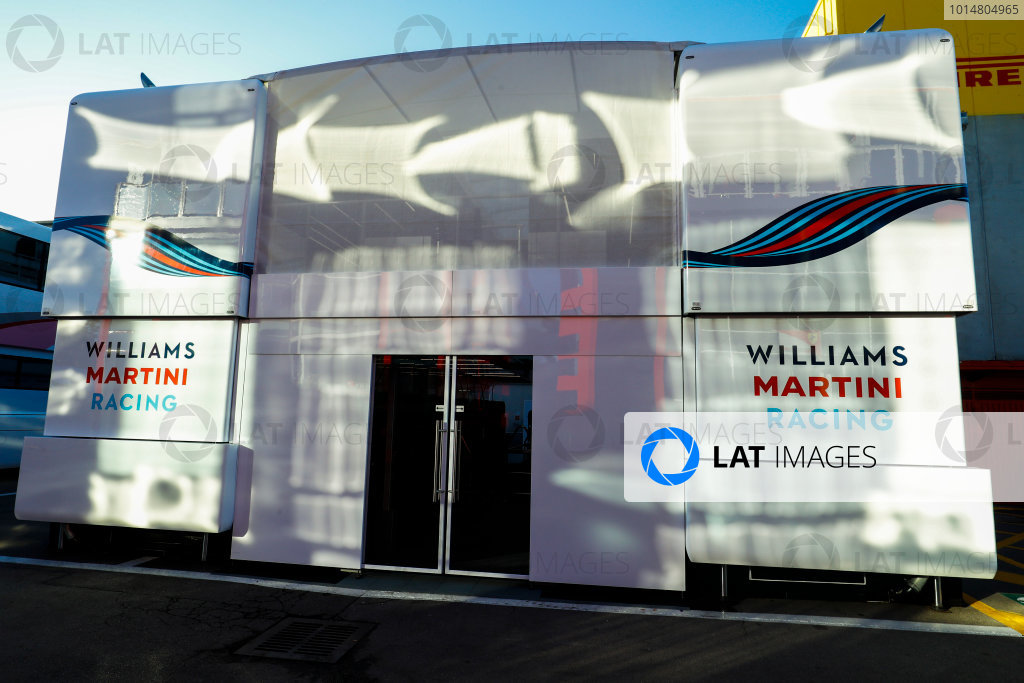 Circuit de Catalunya, Barcelona, Spain. Friday 12 May 2017. The Williams motorhome in the Paddock. World Copyright: Steven Tee/LAT Images ref: Digital Image _O3I2567