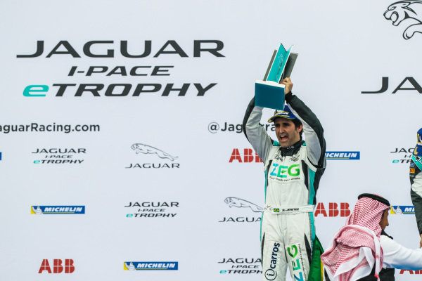 2nd position Sérgio Jimenez (BRA), Jaguar Brazil Racing celebrates with his trophy on the podium
