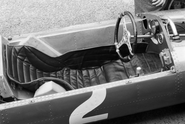Cockpit and steering wheel of John Surtees' Ferrari 158.
