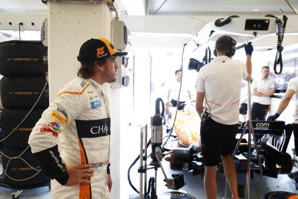 Fernando Alonso, McLaren, in the garage.