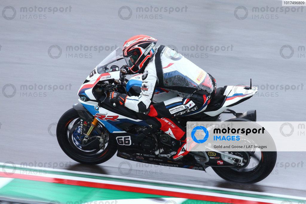 Tom Sykes, BMW Motorrad WorldSBK Team on wet assessment laps.