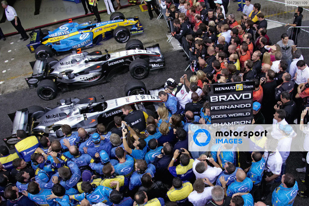 The teams gather for the podium ceremony at parc ferme.