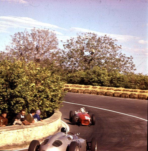 1961 Syracuse Grand Prix.Syracuse, Sicily, Italy.25 April 1961.Giancarlo Baghetti (Ferrari Dino 156) leads Dan Gurney (Porsche 718). They finished in 1st and 2nd positions respectively.Ref-3/0225.World - LAT Photographic