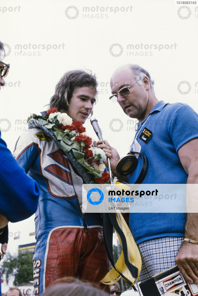 Barry Sheene, winner of the John Player Grand Prix, is interviewed by Murray Walker.