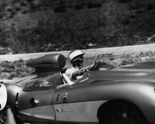 Sebring, Florida, USA. 23rd March 1957. Rd 2 John Fitch/Piero Taruffi (Chevrolet Corvette SS), retired, action. World Copyright: LAT Photographic Ref:  B/W Print