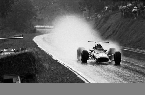 Rouen-les-Essarts, France. 7 July 1968.Jacky Ickx, Ferrari 312, 1st position, action, portrait.World Copyright: LAT PhotographicRef: B/W Print