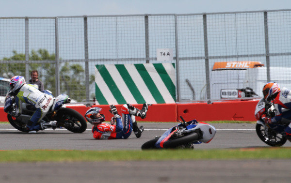 British Grand Prix.  Silverstone, England. 15th-17th June 2012.  Moto3. Jack Miller, Honda, crashes out.  World Copyright: Kevin Wood/LAT Photographic.  ref: Digital Image IMG_8720a