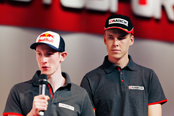 Autosport International Exhibition.  National Exhibition Centre, Birmingham, UK. Thursday 14 January 2016.  Max Vatanen and Elfyn Evans on the Autosport stage. World Copyright: Sam Bloxham/LAT Photographic. ref: Digital Image _SBL5675