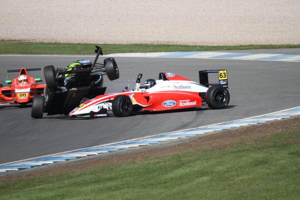 2016 MSA Formula Donington Park, 16th-17th April 2016, Nicolai Kjaergaard (DK) Fortec Motorsports MSA Formula and Zane Goddard (AUS) Double R Racing MSA Formula  World copyright. Jones/Ebrey/LAT Photographic