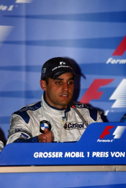 Race winner Juan Pablo Montoya (COL) Williams in the press conference.
