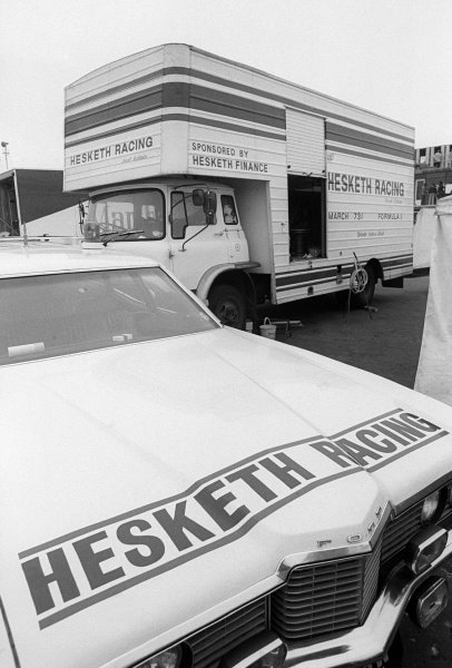 A Hesketh Liveried Ford Galaxie and transporter for the team.