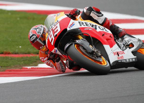 2014 MotoGP Championship  British Grand Prix.  Silverstone, England. 29th - 30st August 2014.  Marc Marquez, Honda.  Ref: _W7_8329. World copyright: Kevin Wood/LAT Photographic