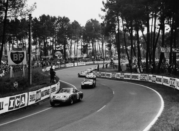 1963 Le Mans 24 Hours. Le Mans, France. 15th - 16th June 1963. Phil Hill/Lucien Bianchi (Aston Martin DP215), retired, action.  World Copyright: LAT Photographic. Ref:  B/WPRINT.