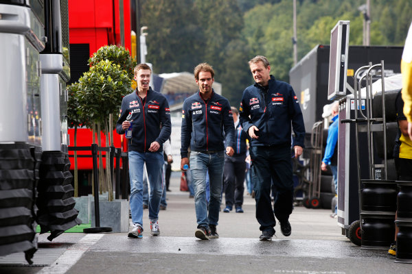Spa-Francorchamps, Spa, Belgium. Friday 22 August 2014. Daniil Kvyat, Toro Rosso, and Jean-Eric Vergne, Toro Rosso. World Copyright: Charles Coates/LAT Photographic. ref: Digital Image _J5R9136