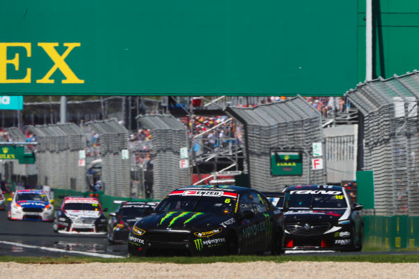 Cameron Waters, Tickford Racing Ford, leads Jack Le Brocq, Tekno Autosports Holden.