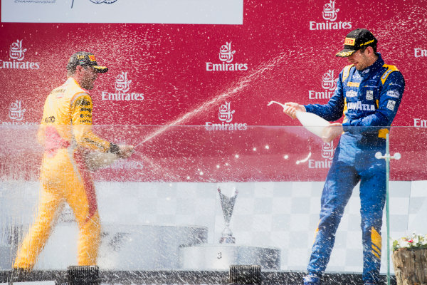 2017 FIA Formula 2 Round 4. Baku City Circuit, Baku, Azerbaijan. Sunday 25 June 2017. Norman Nato (FRA, Pertamina Arden), Nicholas Latifi (CAN, DAMS)  Photo: Zak Mauger/FIA Formula 2. ref: Digital Image _56I8675
