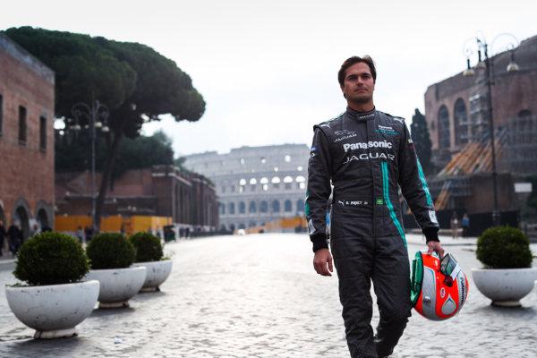 2017/2018 FIA Formula E Championship. Street Demonstration - Rome, Italy. Nelson Piquet Jr. (BRA), Panasonic Jaguar Racing. Thursday 19 October 2017. Photo: Malcom Griffiths/LAT/Formula E ref: Digital Image IMG_8959