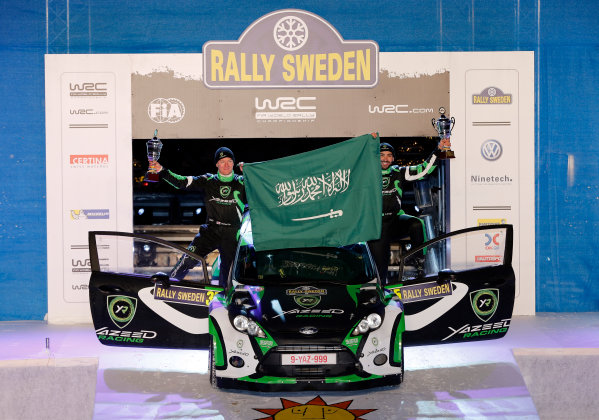 2013 World Rally Championship Swedish Rally 7th - 10th February 2013 Yazeed Al Rajhi, Michael Orr, Ford, podium Worldwide Copyright: McKlein/LAT