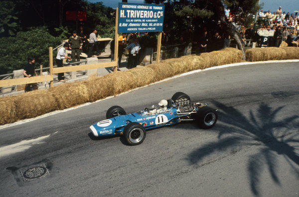 Monte Carlo, Monaco. 23-26 May 1968.  Johnny Servoz-Gavin (Matra MS10-Ford), retired.  Ref: 68MON22. World Copyright: LAT Photographic