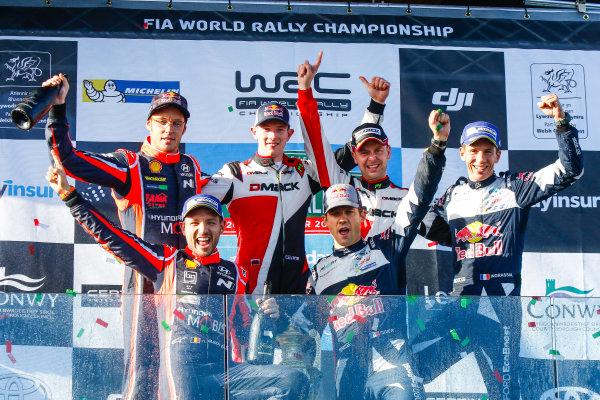 2017 FIA World Rally Championship, Round 12, Wales Rally GB, 26-29 October, 2017, Elfyn Evans, Daniel Barritt, Ford, podium, Worldwide Copyright: LAT/McKlein
