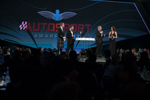 2017 Autosport Awards Grosvenor House Hotel, Park Lane, London. Sunday 3 December 2017. Christian Horner and Martin Brundle on stage with Presenters Lee McKenzie and David Coulthard. World Copyright: Zak Mauger/LAT Images  ref: Digital Image _O3I6567