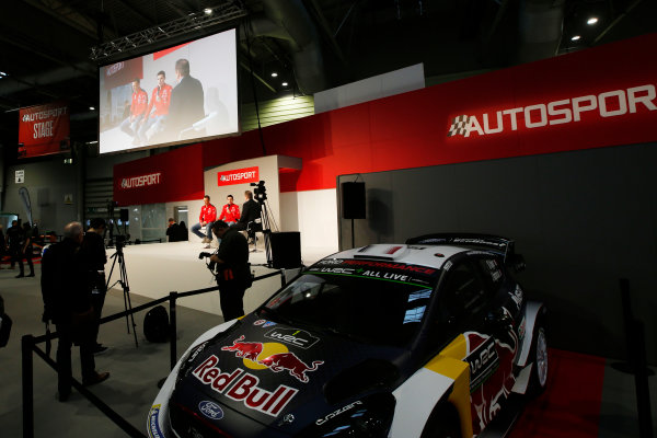 Autosport International Exhibition. National Exhibition Centre, Birmingham, UK. Friday 12th January 2018. Kris Meeke and Craig Breen of Citroen meet Henry Hope-Frost on the Autosport Stage. World Copyright: Joe Portlock/LAT Images Ref: _L5R8929