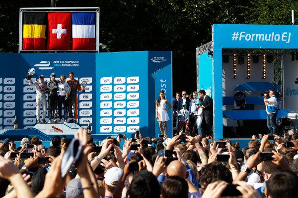 2014/2015 FIA Formula E Championship. London e-Prix, Battersea Park, London, UK. Saturday 27 June 2015. Sebastien Buemi (SWI)/E.dams Renault - Spark-Renault SRT_01E Jerome D'Ambrosio (BEL)/Dragon Racing - Spark-Renault SRT_01E Jean-Eric Vergne (FRA)/Andretti Motorsport - Spark-Renault SRT_01E  World Copyright: Sam Bloxham/LAT Photographic/Formula E. ref: Digital Image _G7C8077