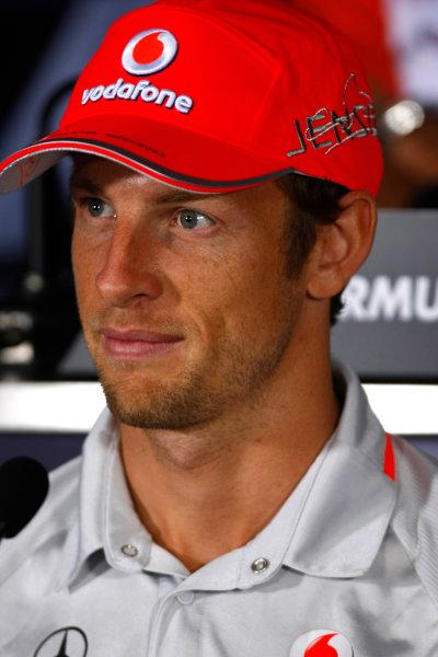 Autodromo Nazionale di Monza, Monza, Italy.9th September 2010.Thursday Press Conference. Jenson Button, McLaren MP4-25 Mercedes. Portrait. World Copyright: Charles Coates/LAT Photographicref: Digital Image _26Y8707
